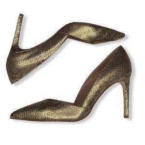 Diane Von Furstenberg Gold Textured Heels.
